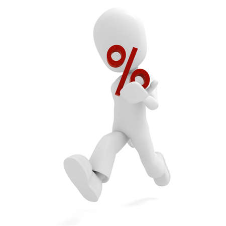 3d man and the percentage symbol photo