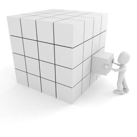 merge: 3d man pushing a cube into its place