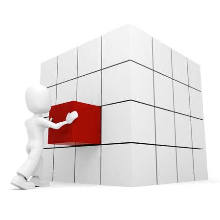 hombre empujando: 3D hombre empujando un cubo en su lugar  Foto de archivo
