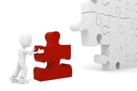 team problems: 3d man puzzle join, concept Stock Photo