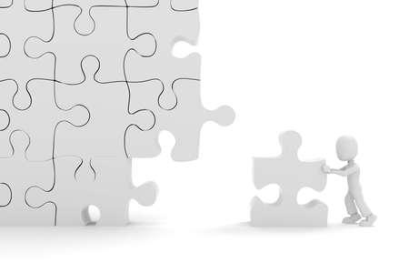 3d man puzzle join, concept Stock Photo - 8164525