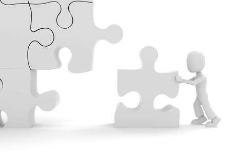 3d man puzzle join, concept Stock Photo - 8164500