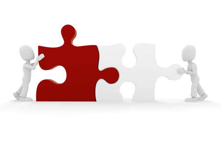 3d man puzzle join, concept Stock Photo - 8164478