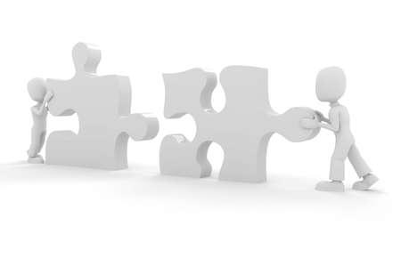 3d man puzzle join, concept Stock Photo - 8164472