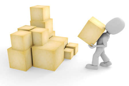 3d man and some boxes photo
