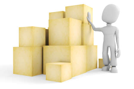 good idea: 3d man and some boxes Stock Photo
