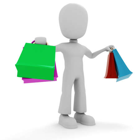 3d man and colorfull shopping bags photo