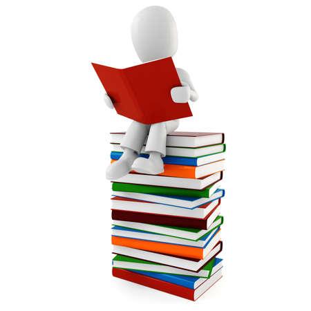 bibliotecas: hombre 3D leyendo un libro  Foto de archivo
