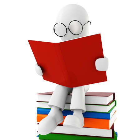 3d man reading a book Stock Photo - 8165013