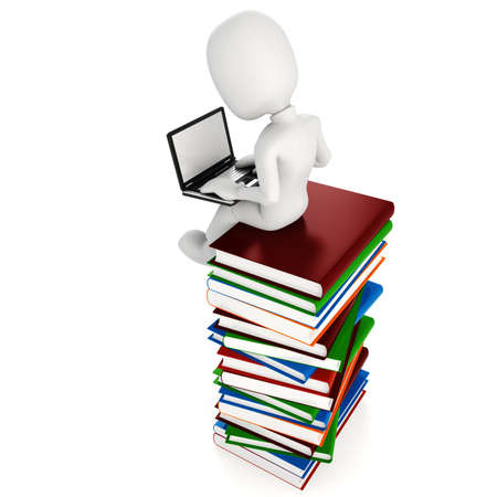 tasks: 3d man sitiing on a pile of books an d working at hes laptop Stock Photo