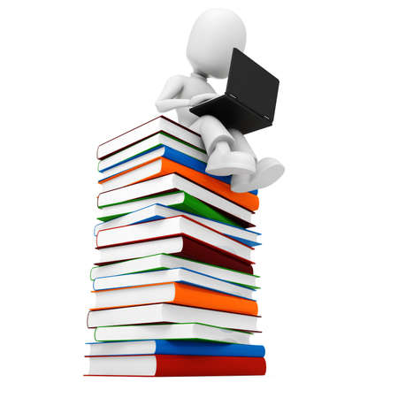 3d man sitiing on a pile of books an d working at hes laptop Stock Photo - 8164782