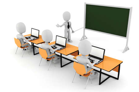 whitem: 3d man, - classroom Stock Photo