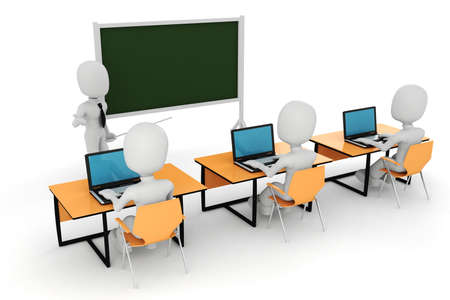technology deal: 3d man, - classroom Stock Photo