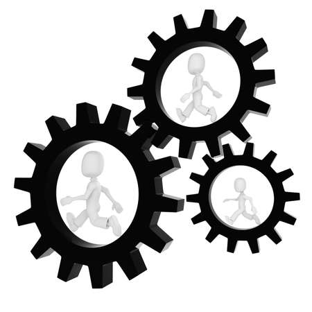 powe: 3d man inside a gear wheel Stock Photo