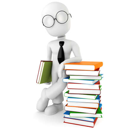 3d man standing near a pile of books Stock Photo - 8224259