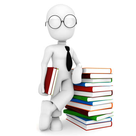 3d man and colorful books Stock Photo - 8165001