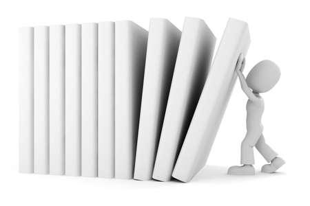 3d man vs the books Stock Photo - 8165161