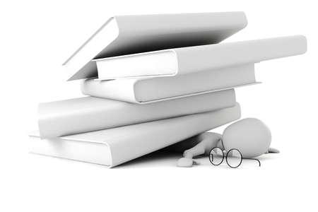 homework: 3D hombre vs los libros  Foto de archivo