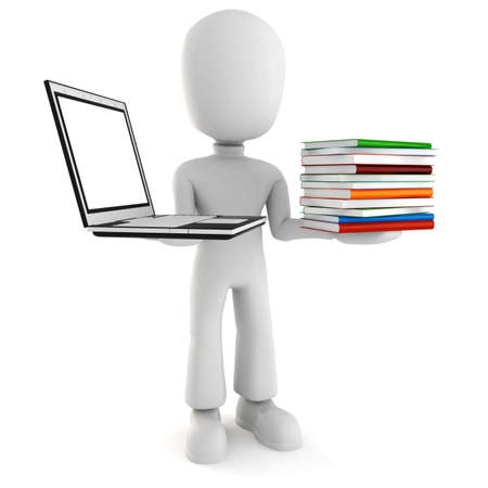 tasks: 3d man holding a laptopp and some books