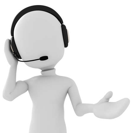 contact center: 3d man - call center Stock Photo