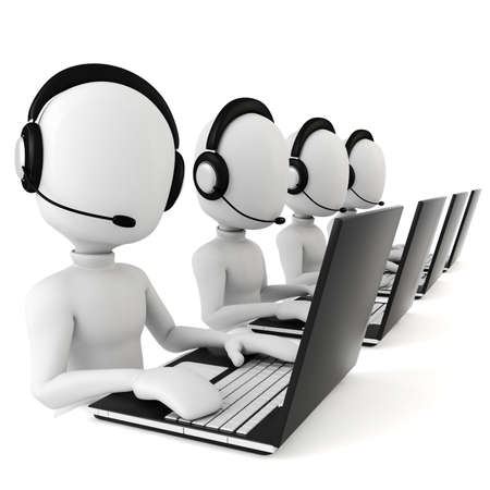 conference center: 3d man - call center Stock Photo