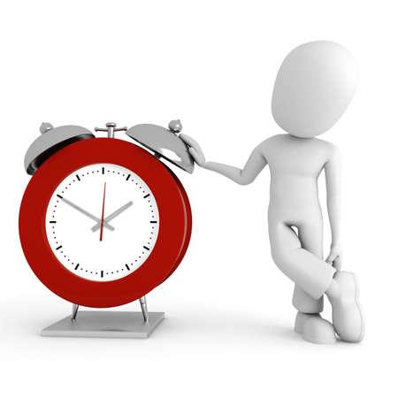 schedules: 3d man standing near a watch