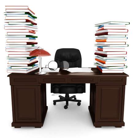 3d desk render, on white background photo