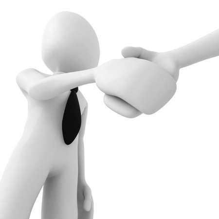 intention: homme 3D serrant la main  Banque d'images