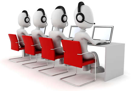 conference call: 3d man, call center
