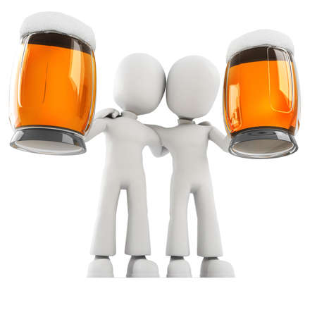 men bars: 3d man and beer