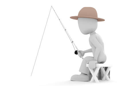 3d man fisherman photo