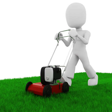 mowing the grass: 3d man cutting the grass with a push  lawn mowe
