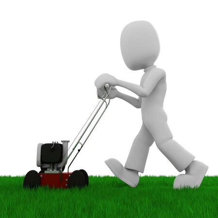 3d man cutting the grass with a push  lawn mowe photo