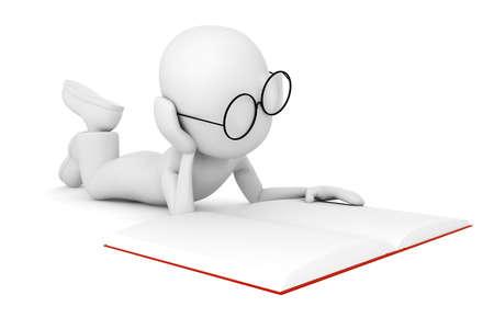 tarea escolar: hombre 3D leyendo un boock, aislado en blanco  Foto de archivo