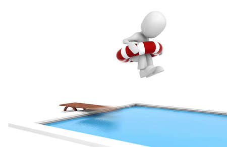 hot guy: 3d man jumping in a swiming pool Stock Photo