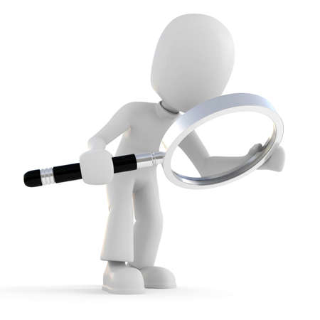 find: 3d man holding a magnifier glass Stock Photo