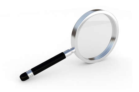 3d magnifier glass isolated on white photo