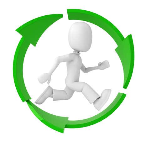 hombre 3D que se ejecuta en el símbolo de la Papelera de reciclaje  Foto de archivo