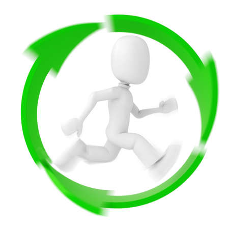 3d Man Running Inside The Recycle Symbol Stock Photo Picture And