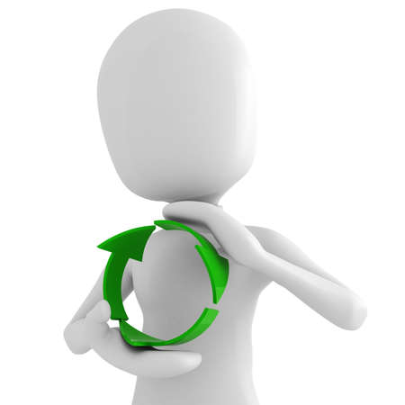3d man holding the recycle symbol photo
