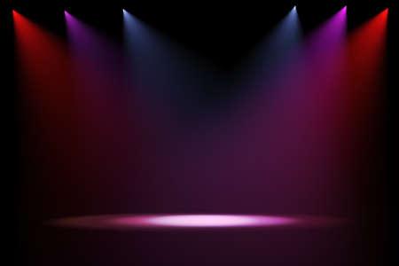 fari da palco: luci di scena 3D su sfondo nero Archivio Fotografico