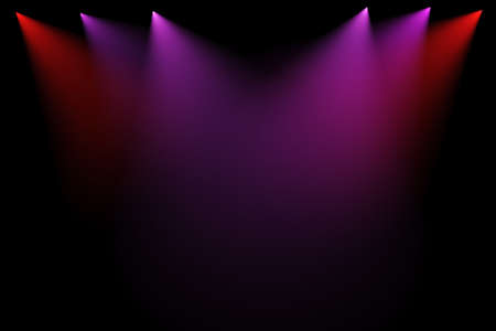 3d stage lights on black background photo