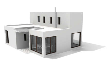 3d modern house, on white background Stock Photo - 8165291