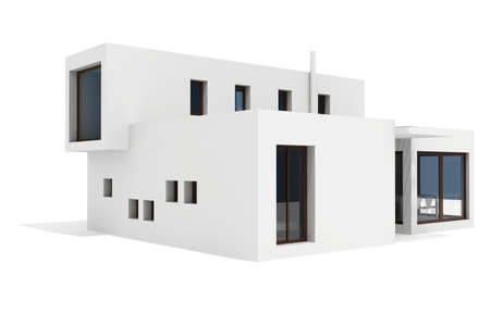 luxury home exterior: 3d modern house, on white background