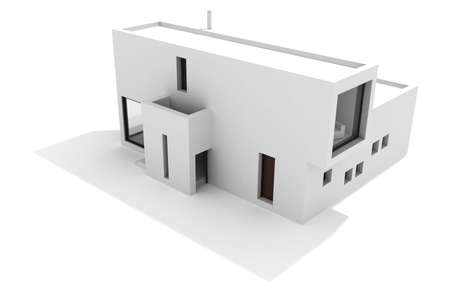 3d modern house, on white background Stock Photo - 8164546