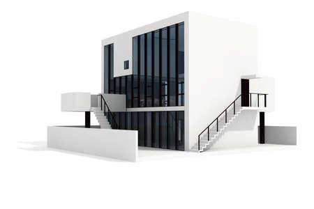 3d modern house, on white background photo