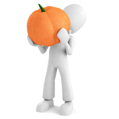 3d man holding a pumpkin, on white background photo