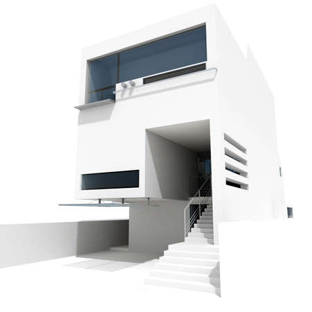 3d modern house, on white background Stock Photo - 8165197