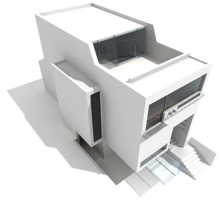 3d modern house, on white background Stock Photo - 8165177