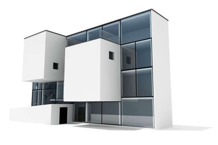 3d modern house, on white background Stock Photo - 8165190